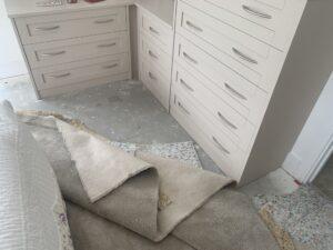 Carpet re-lay & stretch progress