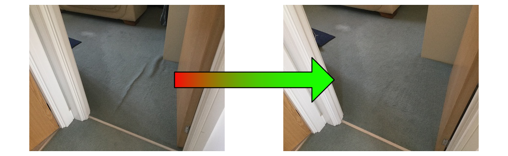 before & after Herts carpet stretching